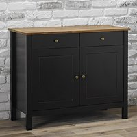 Product photograph showing Copenhagen Oiled Wood Sideboard With Black Frame