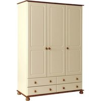 Copenham Wooden 3 Doors 4 Drawers Wardrobe In Cream And Pine