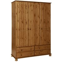 Copenham Wooden 3 Doors 4 Drawers Wardrobe In Pine