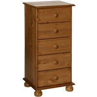 Copenham Narrow Chest Of Drawers In Pine With 5 Drawers