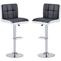Product photograph showing Copez Black And White Faux Leather Bar Stools In Pair
