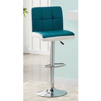 Product photograph showing Copez Faux Leather Bar Stool In Teal And White