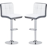 Product photograph showing Copez White And Grey Faux Leather Bar Stools In Pair
