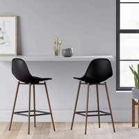 Product photograph showing Copley Black Plastic Counter Bar Stool In A Pair