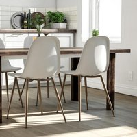 Copley White Plastic Dining Chairs In Pair