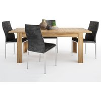 Product photograph showing Corco Extending Dining Table With 4 Mexa Black Leather Chairs