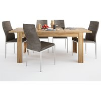 Product photograph showing Corco Extending Dining Table With 4 Mexa Brown Leather Chairs