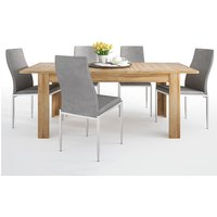 Product photograph showing Corco Extending Dining Table With 4 Mexa Grey Leather Chairs