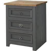 Corina Bedside Cabinet In Carbon Grey Finish With Three Drawers