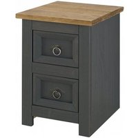 Corina Bedside Cabinet In Carbon Grey Finish With Two Drawers
