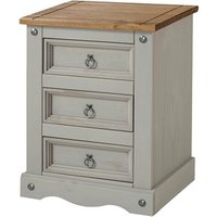 Corina Bedside Cabinet In Grey Washed Wax With Three Drawers
