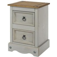 Corina Bedside Cabinet In Grey Washed Wax With Two Drawers