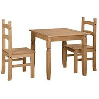 Corina Wooden Dining Set In Oak With 2 Chairs