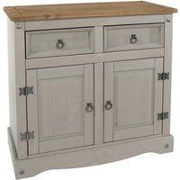 Corina Wooden Small Sideboard In Grey Washed Wax Finish