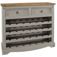 Product photograph showing Corina Wooden Wine Rack In Grey Washed Wax With Two Drawers