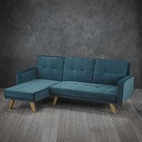 Product photograph showing Cornis Corner Sofa Bed In Teal Fabric With Wooden Legs