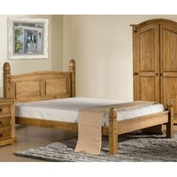Corona Wooden Low End Small Double Bed In Waxed Pine