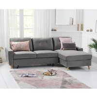 Coreen Velvet Right Hand Facing Chaise Sofa Bed In Grey