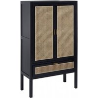 Product photograph showing Corson Cane Rattan Wooden Wardrobe In Black With 2 Doors 1 Drawer