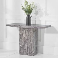 Product photograph showing Coruna Marble Console Table In Grey High Gloss