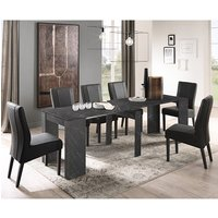 Corvi Extending Black Wooden Dining Table With 6 Miko Chairs