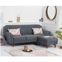 Corwin Linen Sofa Bed In Grey With Angled Solid Wood Feet