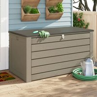 Product photograph showing Cosco 180 Gallon Plastic Garden Storage Cabinet In Brown