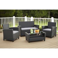 Cosco Malmo Outdoor Seating Set In Black With Grey Cushions