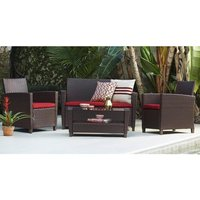 Cosco Malmo Outdoor Seating Set In Brown With Red Cushions