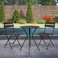 Product photograph showing Cosco Outdoor Metal Bistro Set With Round Table In Black