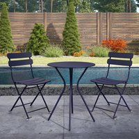 Product photograph showing Cosco Outdoor Metal Bistro Set With Round Table In Navy