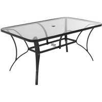 Product photograph showing Cosco Outdoor Paloma Glass Dining Table In Dark Grey