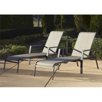 Product photograph showing Cosco Outdoor Serene Ridge Sun Chaise Lounger Set In Dark Grey