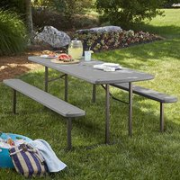 Product photograph showing Cosco Outdoor Wooden Picnic Dining Set In Dark Grey