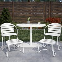 Cosco Steel Set Of 5 Patio Bistro Set In White