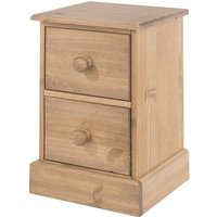 Costa Bedside Cabinet In Antique Wax With Two Drawers