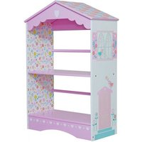 Product photograph showing Country Cottage Kids Bookcase In Pink And White