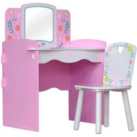 Product photograph showing Country Cottage Kids Dressing Table In Pink And White With Chair