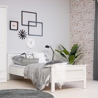 Country Wooden Single Bed In White
