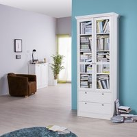 image-Country Glass Display Cabinet In White With 2 Doors