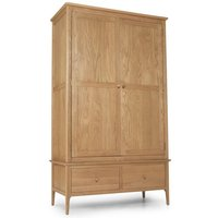 Courbet Double Door Wardrobe In Light Solid Oak With 2 Drawers