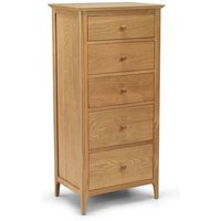 Courbet Tall Chest Of Drawers In Light Solid Oak With 5 Drawers