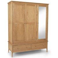 Courbet Triple Door Wardrobe In Light Solid Oak With Mirror