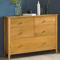 Courbet Wide Chest Of Drawers In Light Solid Oak With 5 Drawers