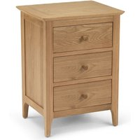 Courbet Wooden Bedside Cabinet In Light Solid Oak With 3 Drawers