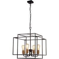 Product photograph showing Crate 4 Pendant Light In Matt Black With Bronze Lamp Holder