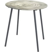 Product photograph showing Creek Glass Side Table In Tree Annual Rings Print