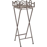 Product photograph showing Creek Metal Foldable Side Table In Antique Brown