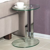 Product photograph showing Creek Round Clear Glass Side Table With Chrome Stand