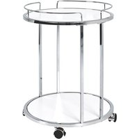 Product photograph showing Creek Wooden Side Table On Castors In White And Chrome